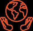 Orange globe held between hands icon
