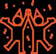 Orange two-person party icon