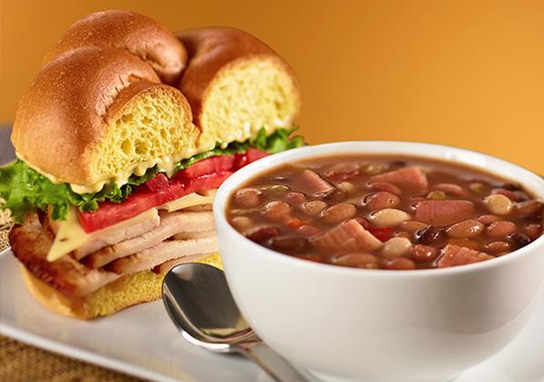 HoneyBaked Ham - Lunch: Ham Sandwich with Bean Soup